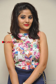 Kannada Actress Mahi Rajput Pos in Floral Printed Blouse at Premam Short Film Preview Press Meet  0006.jpg
