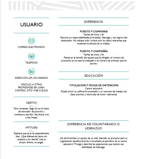 Plantillas de word: Currículum vítae creativo diseñado por MOO