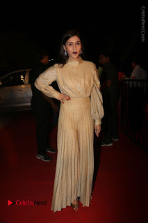 Actress Mannara Chopra Stills in Cream Colour Long Dress at Gemini TV Puraskaralu 2016 Event  0053.JPG