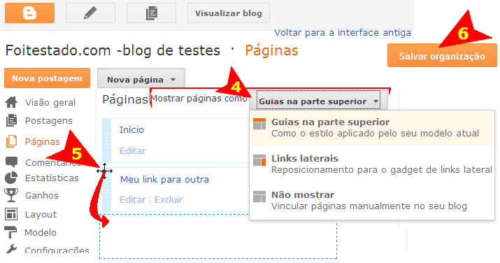 organizar ou trocar lugar dos links do menu em blogspot do blogger