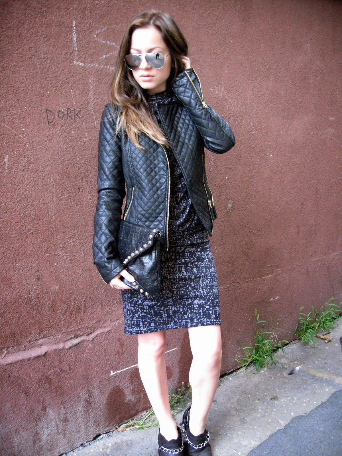 LBD, little black dress, backless black dress, black faux leather jacket, c&a black pu faux leather jacket, DIY chain cut boots, aviator sunglasses, black studded clutch