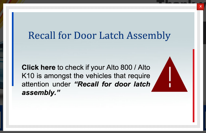 maruti alto 800 recall  door latch
