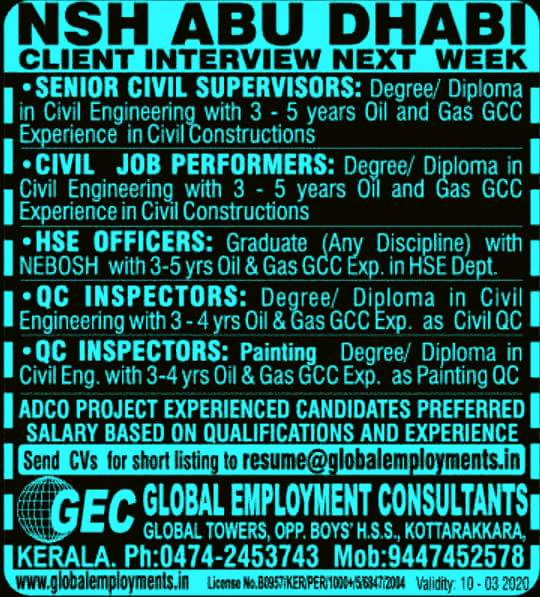 NSH Abu Dhabi Adco Oil & Gas Job Openings