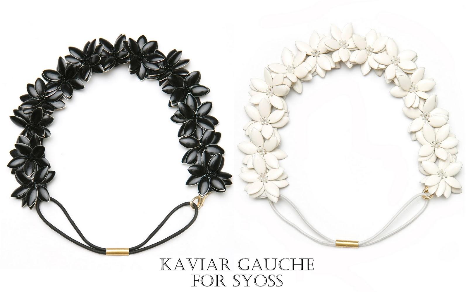Emaille Blütenhaarband von Kaviar Gauche für Syoss Schwarz und Weiß