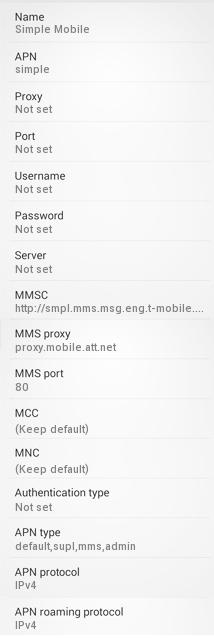 Simple Mobile APN Settings for Android Galaxy
