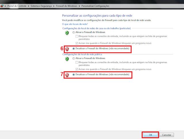 6 - Agora em configuração do local de redes de casa ou do trabalho (particular) marque a opção Desativar o Firewall do Windows (não recomendado).  7 - Em configurações de local de rede pública marque também Desativar o Firewall do Windows (não recomendado).    Pronto seu firewall está desativado!  Mas em vez de desativar você queira apenas adicionar uma exceção de um programa faça o seguinte: