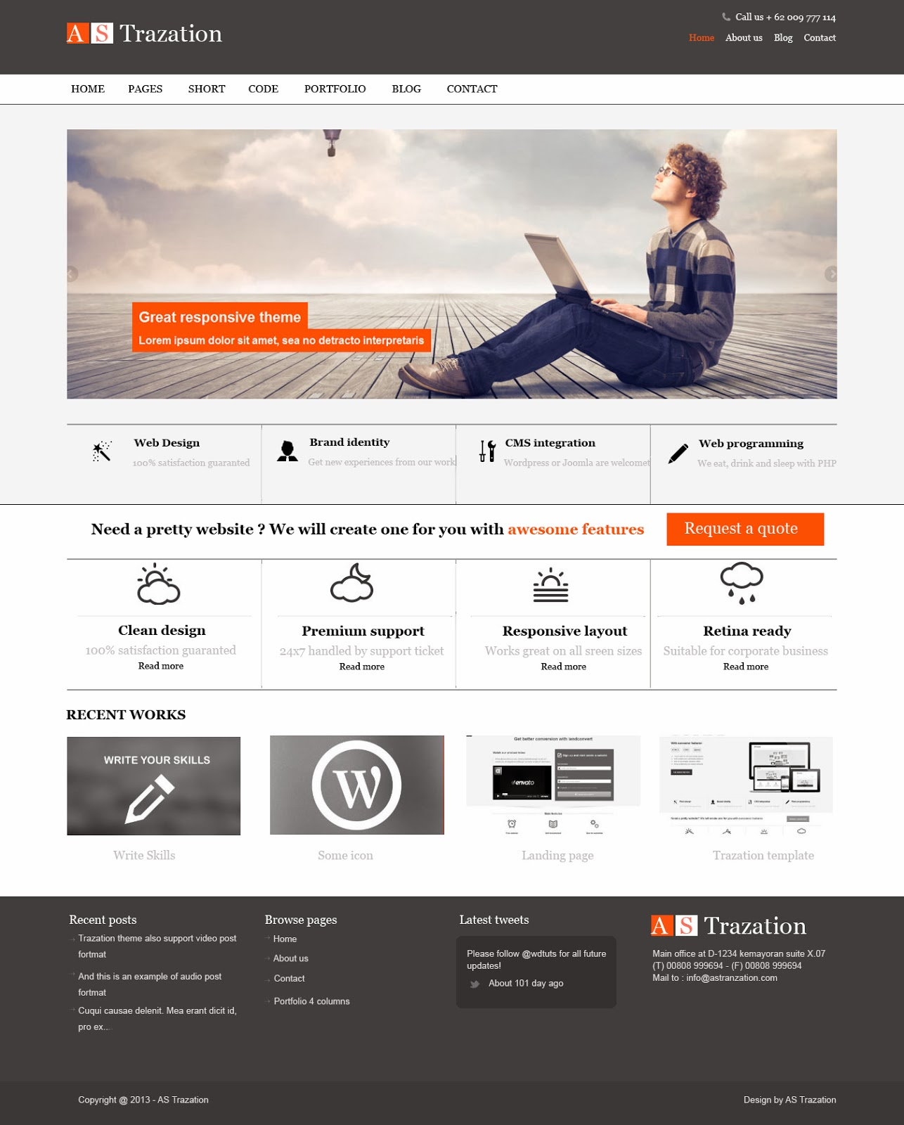 Best Graphic Design Website Templates: Web Designer Portfolio: AS Trazation Clean Design Template