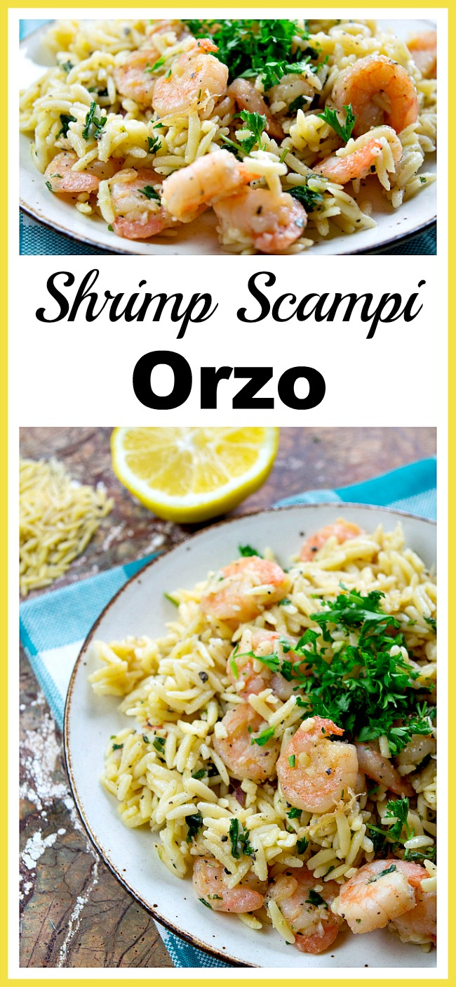 Shrimp Scampi Orzo- Just because a meal is quick to make doesn't mean it can't be tasty! Here's how to make quick shrimp scampi orzo! | easy recipe, seafood, dinner ideas, quick dinner, cooking, recipes for busy moms, food