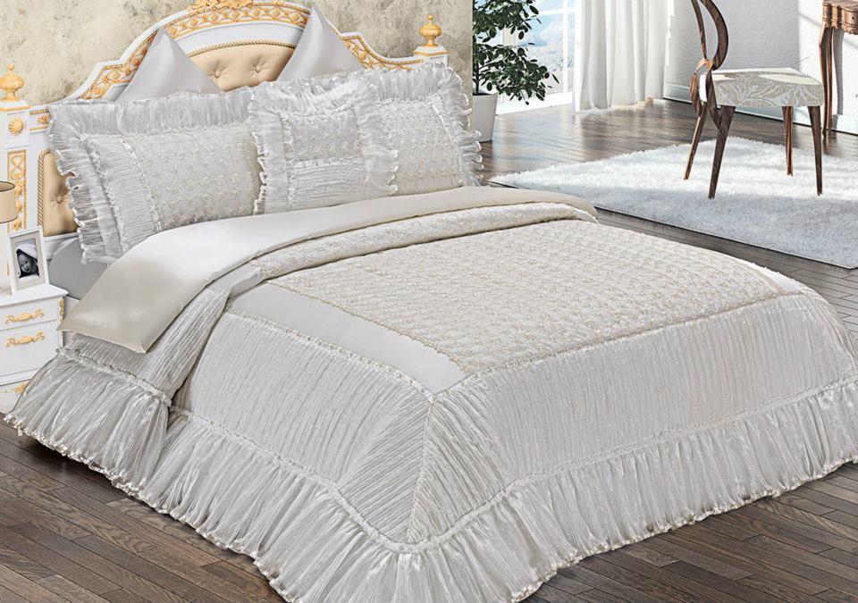 Fransız güpürlü bade yatak örtüsü