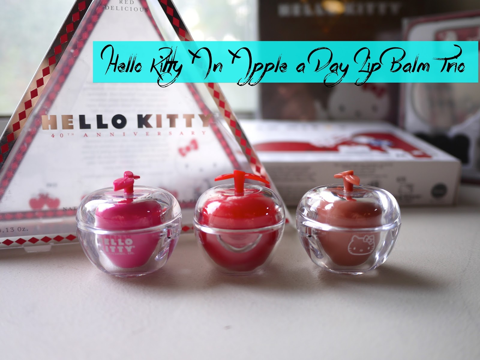 Hello Kitty An Apple a Day Trio Balm Set review swatch
