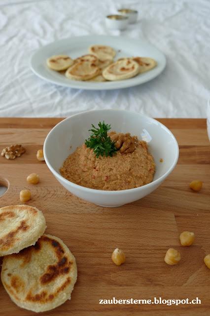 Rezept Hummus, Kachari, Chapati, Gelberbsen Vadai, vegetarische Gerichte, Kichererbsen