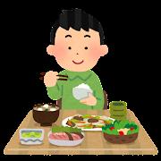 食事をしている男性のイラスト