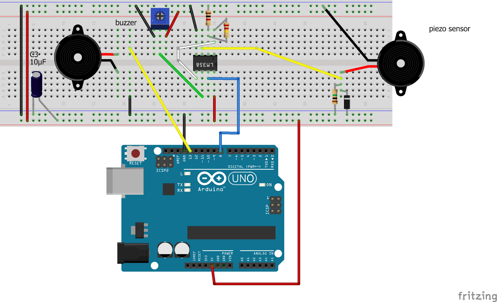 Internet Of Things High Sensitivity Vibration Sensor Using Arduino Analog Isolation Circuit Amplifiercircuit Diagram And The Breadboard