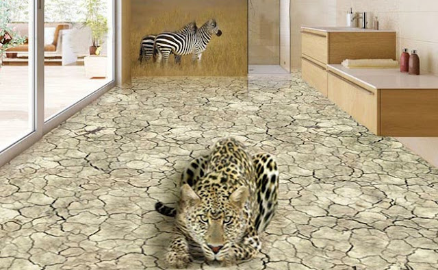 Cheetah 3d Floor Art For Living Room Zoo Theme