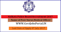Kolkata Police Board Recruitment 2017– 23 Nurse, Medical Officer