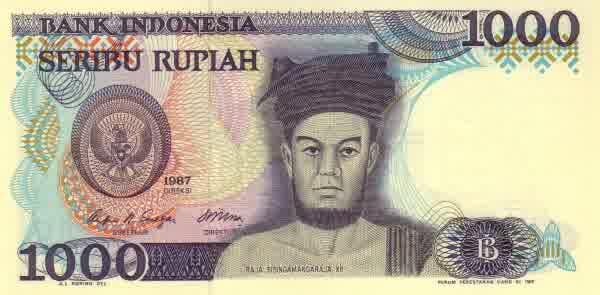 seribu rupiah 1985 depan