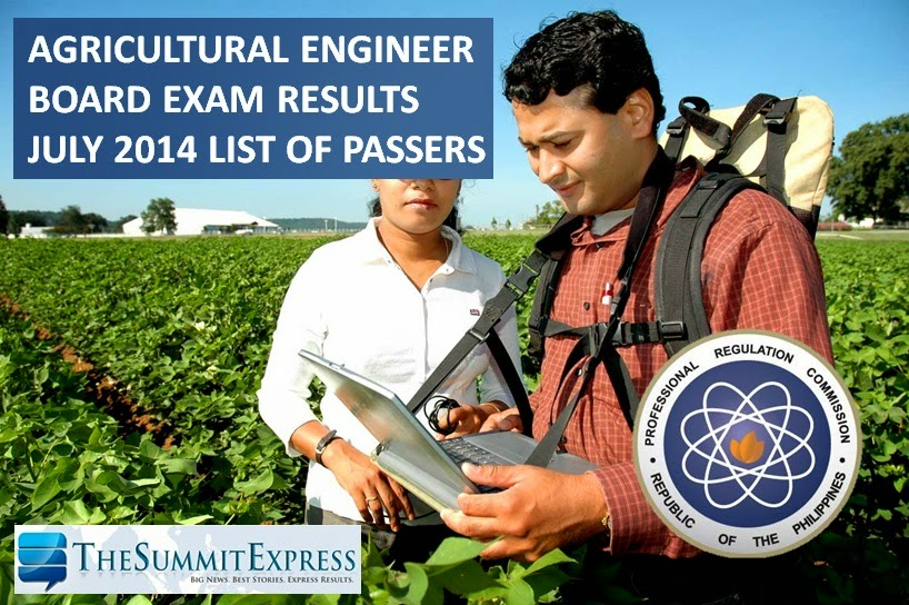 July 2014 Agricultural Engineer licensure exam results