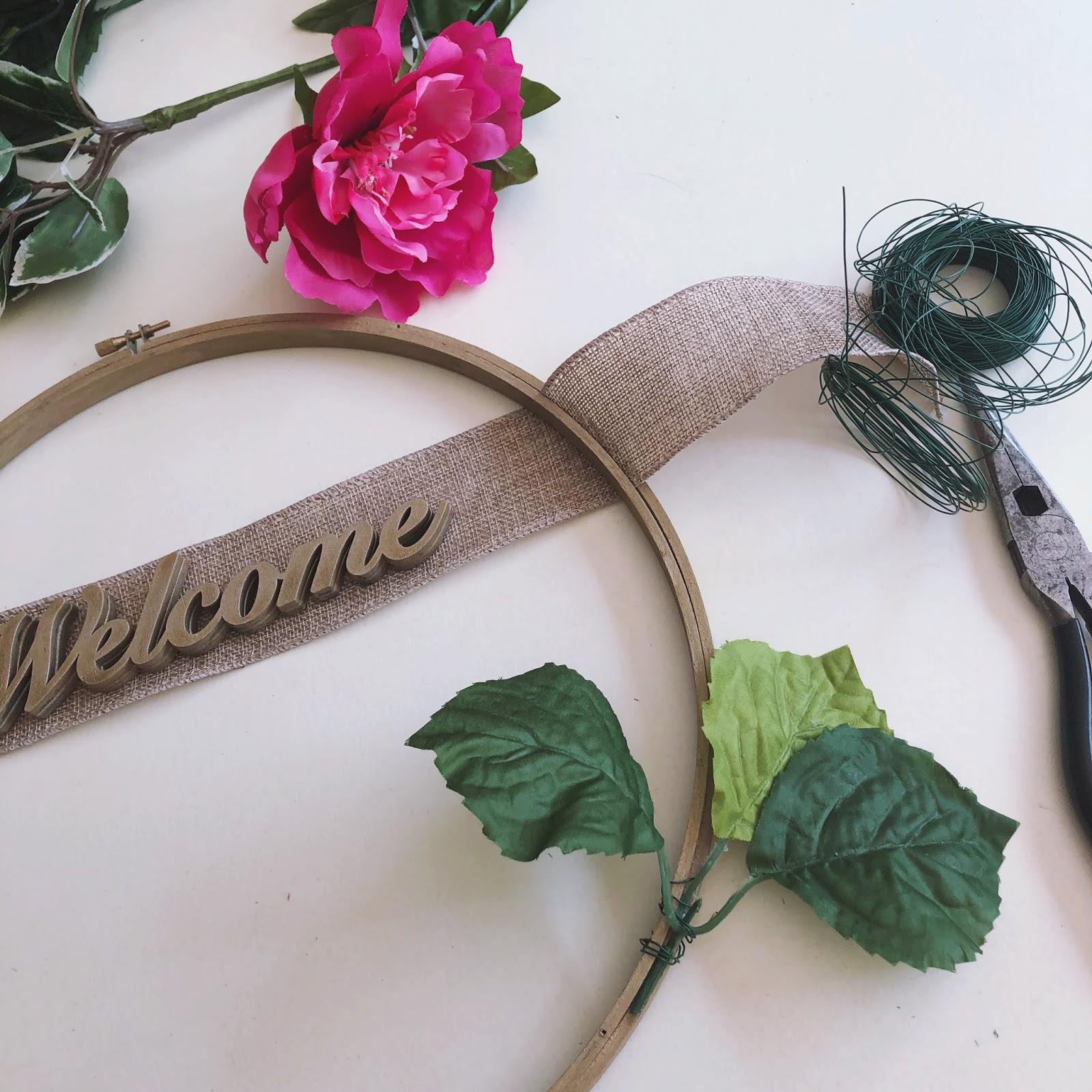 Spring Floral Hoop Wreath DIY