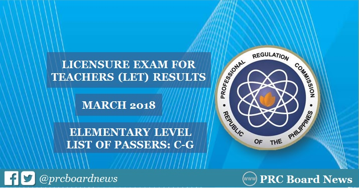 C-G Passers Elementary: March 2018 LET Results