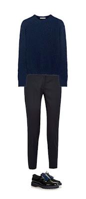 Темно-синие свитер, брюки и лоферы