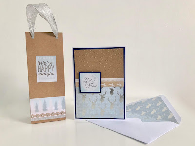 Hand made Christmas card with matching envelope and gift bag