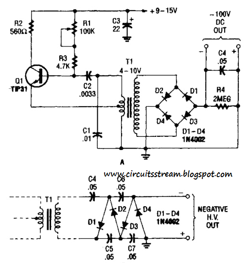 build a hv power supply with 9 to 15vdc input circuit diagram