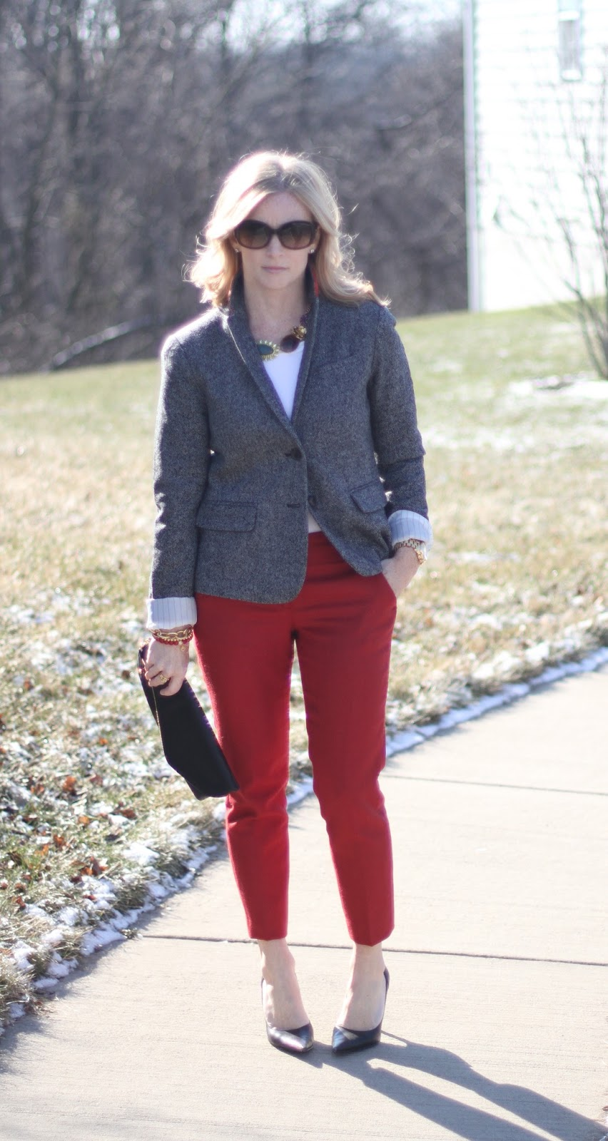 Boden, Gap, Loft, Banana Republic, Nine West, Loren Hope, Simply Lulu Design, Simply Lulu Style, styling red pants, alterations, Michael Kors, Prada, Urban Expressions, chic mom,