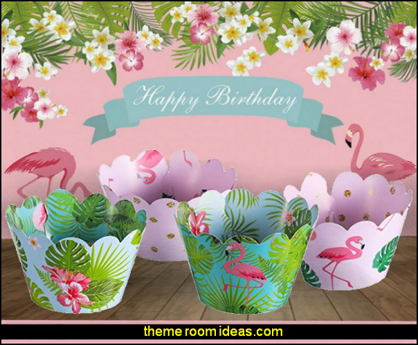 Luau Cake Decorations of Flamingo Cake Topper Picks And Flamingo Pineapple Cupcake Toppers Cardboard Cupcake Wrappers Party Supplies  pink floral Tropical Style Flamingo Birthday party  photo backdrop