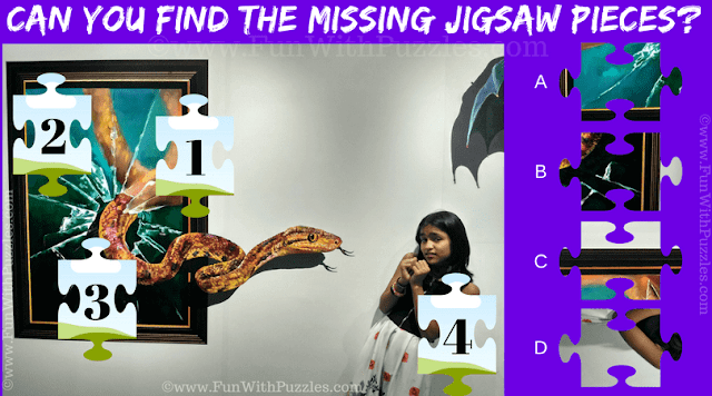 It is Jigsaw Puzzle in which four Jigsaw Pieces are missing and your challenge is to find these missing Jigsaw pieces