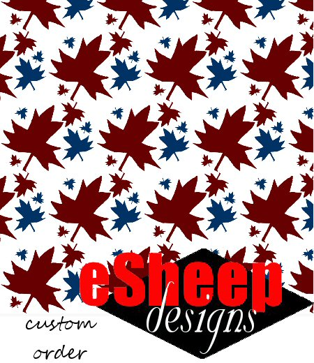 Customized Canadiana Maple Leaf on White fabric by eSheep Designs