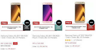 Harga Samsung A3 2017, A5 2017, A7 2017 Bonus JBL GO