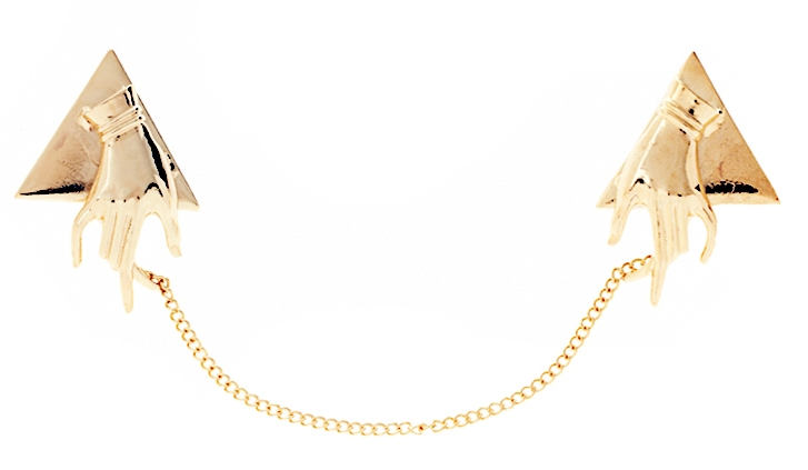 Gold asos hand shaped collar tips