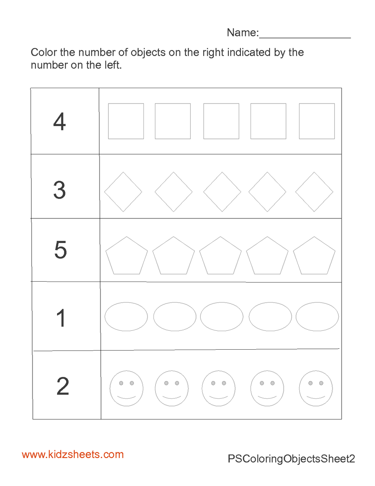 Kidz Worksheets Preschool Count Amp Color Worksheet2