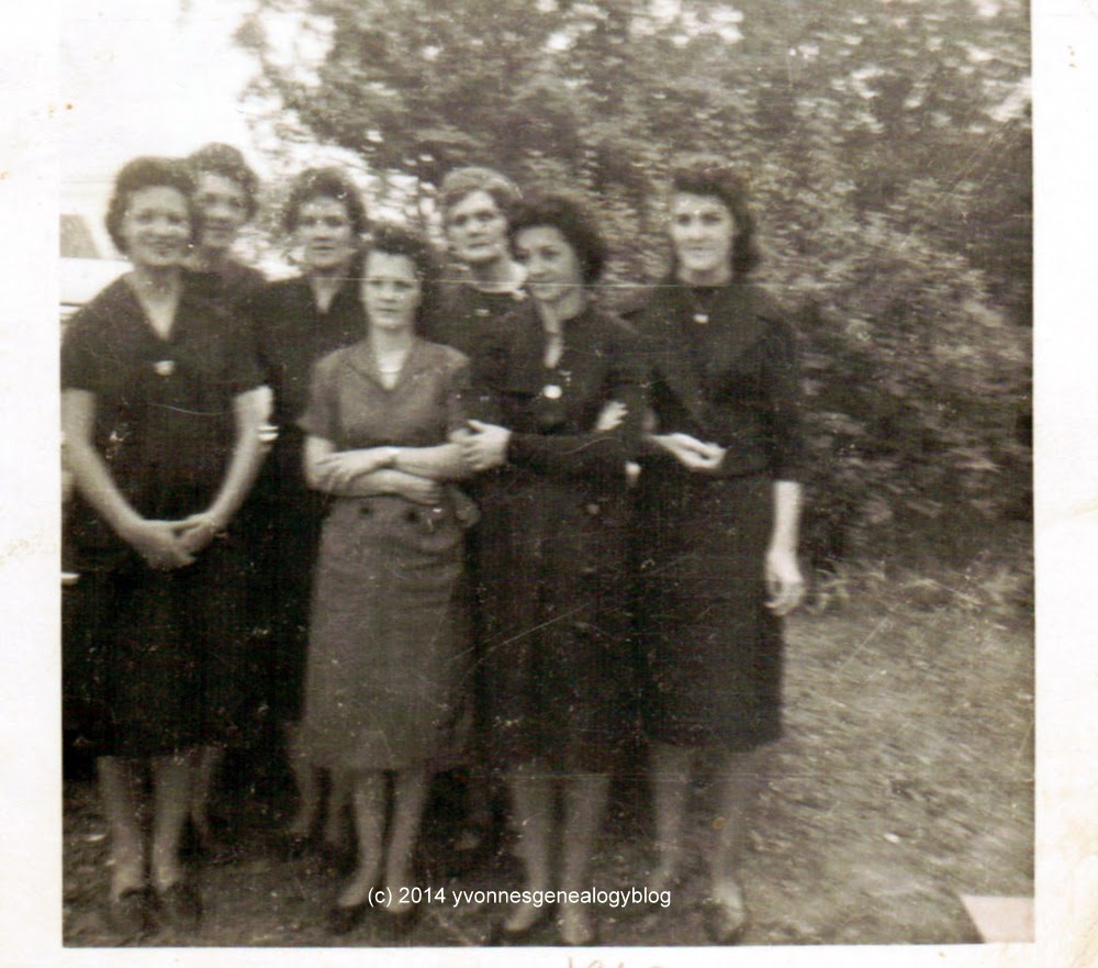 Jacqueline Desgroseilliers with her sisters and their aunt at her father's funeral