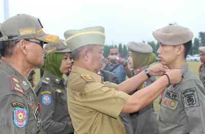 Wagub Bachtiar Basri Pimpin Upacara Penyematan Kenaikan Pangkat di Lingkungan Satpol PP Provinsi Lampung