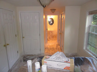 Prepping to paint ceilings in Attleboro, MA.