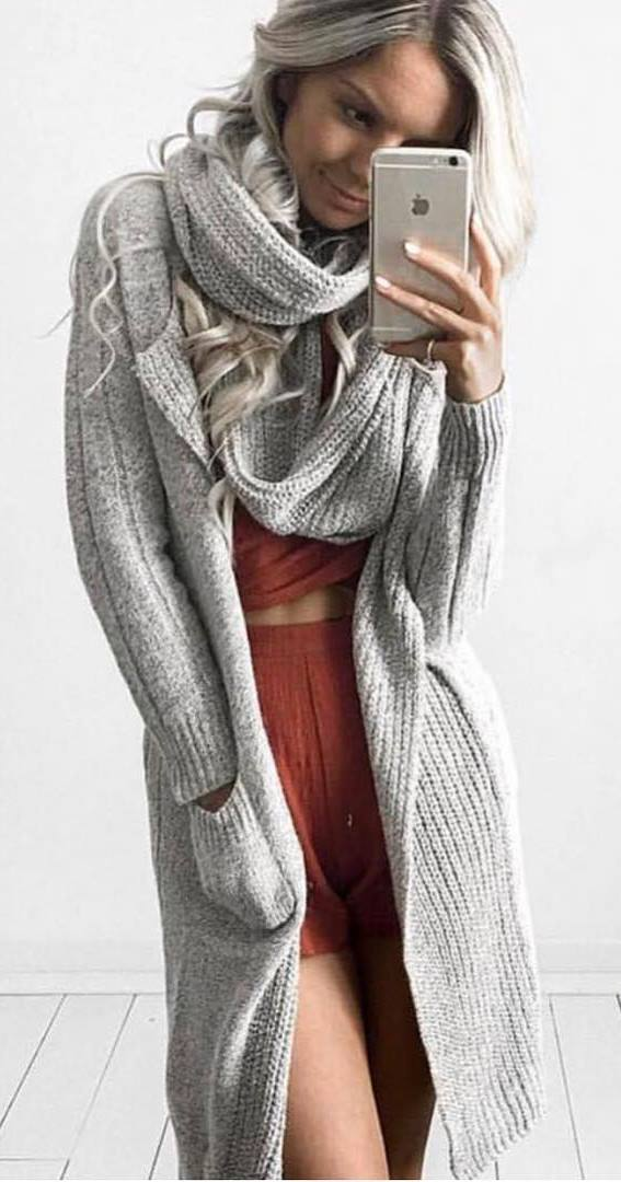 cozy outfit inspiration : knit scarf + cardigan + top + shorts