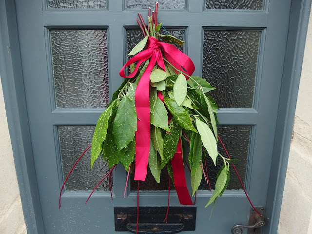Festive front door in Holt, Wiltshire