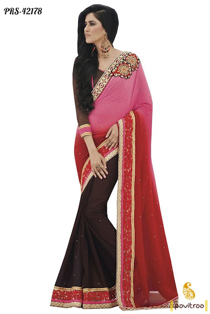 Pink Brown Party Wear Saree at Low Price