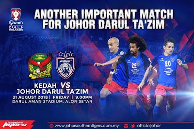 Live Streaming Kedah vs JDT Piala Malaysia 31.8.2018