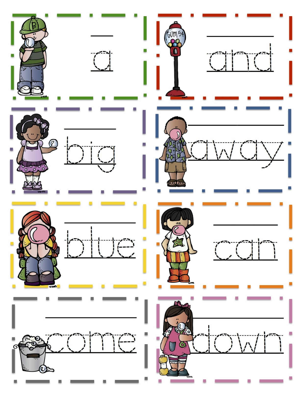 Pre Primer Tracing Site Word Cards Preschool Printables