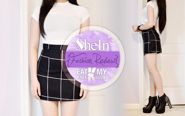 To kick off a 3-part SheIn mini fashion haul, today I'm reviewing a piece I've been considering getting for a while: their black grid-print mini skirt, a style similar to American Apparel and Brandy Melville. - Eat My Knee Socks / Mimchikimchi