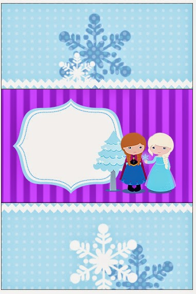 Etiquetas de Frozen Niñas en Navidad para imprimir gratis.