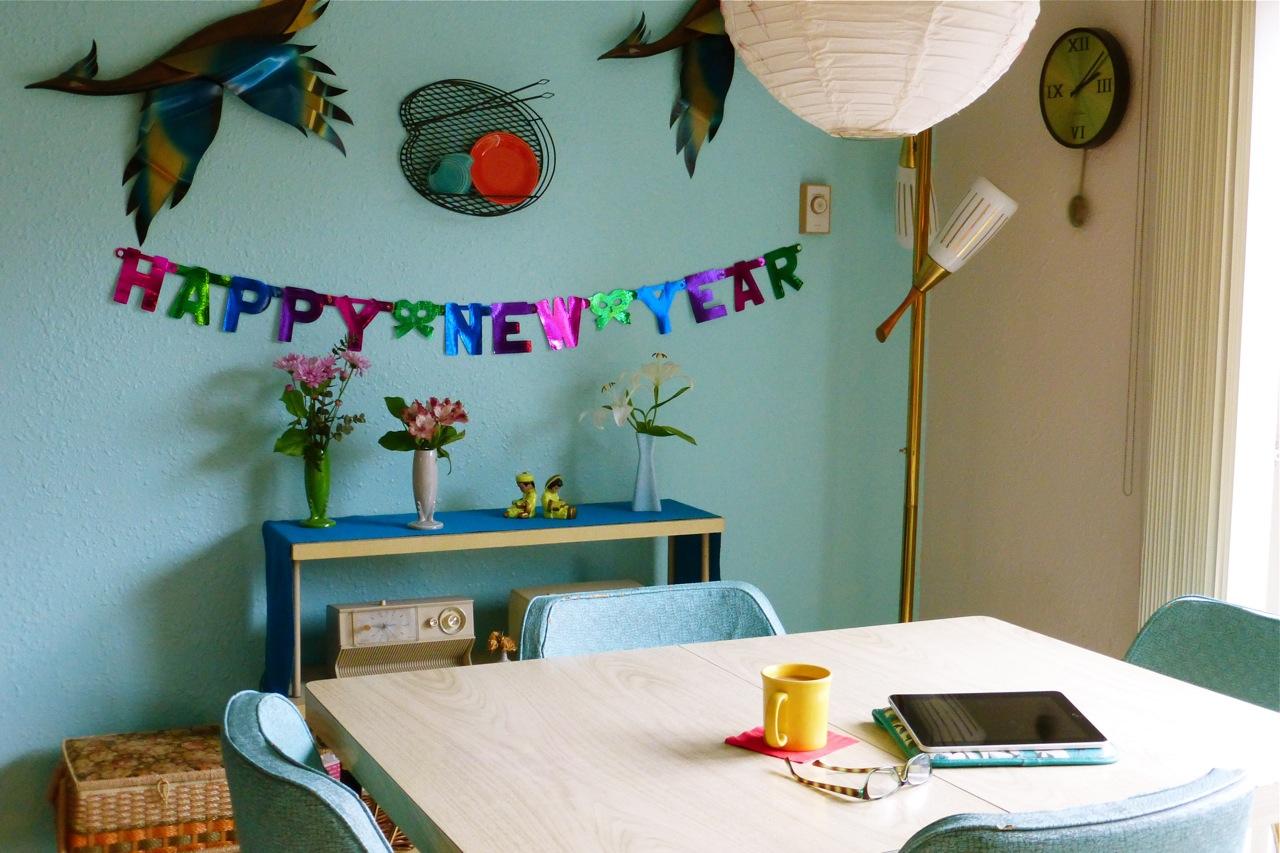 Happy New Year, Fiestaware vase, Fiestaware bud vase, Fiestaware Shamrock bud vase, Fiestaware Pearl grey bud vase, vintage kitchen