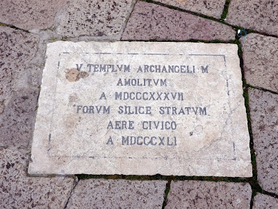 Plaque marking the site of the demolished church of San Michele Arcangelo in the Campo Sant'Angelo, Venice