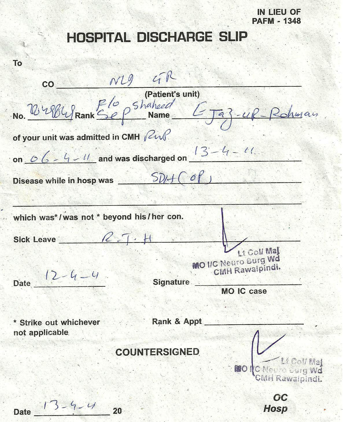 Fake Discharge Papers From Hospital