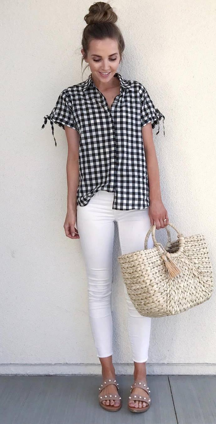 cute outfit idea: shirt + bag + skinnies