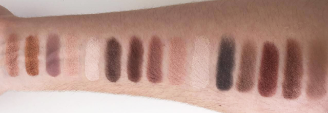 Eye shadow swatches, pigment