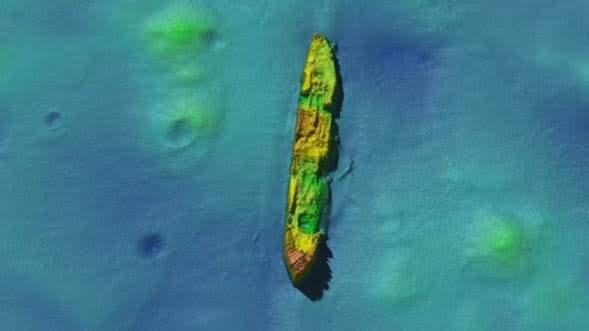 Figura 3. El submarino SS Damao hoy día yace sobre el fondo marino; próximo al blanco se observan cráteres que pudieron haber sido creados por cargas de profundidad lanzadas durante la segunda guerra mundial.