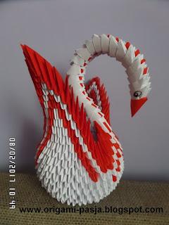 prezent, podarunek, łabędź, czerwony, biały, papier, rękodzieło,